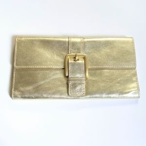 NORDSTROM Gold Leather Tri-Fold Buckle Wallet